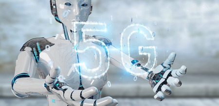 White cyborg woman on blurred background using 5G network digital hologram 3D rendering Stok Fotoğraf
