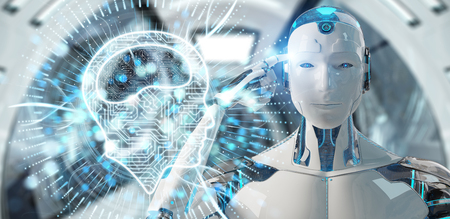 White humanoid on blurred background using digital artificial intelligence icon hologram 3D rendering