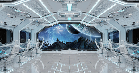 White clean spaceship interior with view on distant planets system 3D rendering