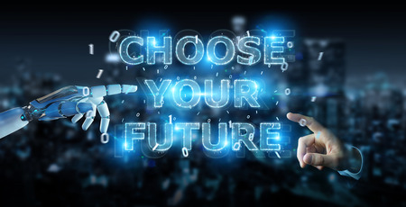 White cyborg hand on blurred background using future decision text interface 3D rendering 免版税图像
