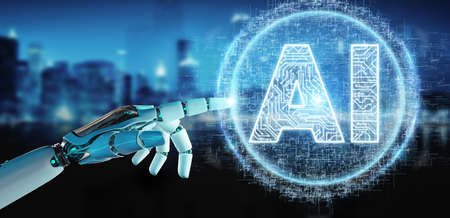 White humanoid hand on blurred background using digital artificial intelligence icon hologram 3D rendering Archivio Fotografico