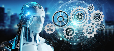 White humanoid robot on blurred background using digital gears 3D rendering