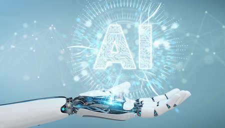 Main humanoïde blanche sur fond flou à l'aide de rendu 3D hologramme icône intelligence artificielle