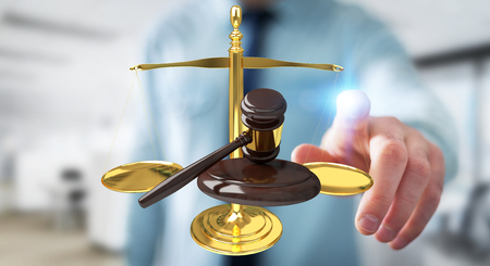 Businessman on blurred background with justice hammer and weighing scales 3D rendering