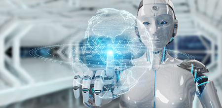White robot woman on blurred background using globe network hologram with America Usa map 3D rendering
