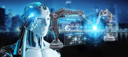 robot hombre blanco en el fondo borroso con los brazos robóticos con pantalla digital representación 3d