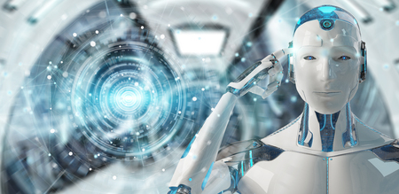 humanoide masculino blanco en el fondo borroso utilizando representación 3d red global 3d