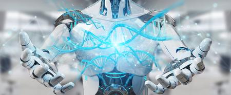 cyborg masculino blanco en el fondo de color naranja borrosa adn representación 3d Foto de archivo