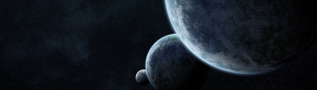 Panoramic view of planets in distant solar system in space 3D rendering Imagens - 105682804