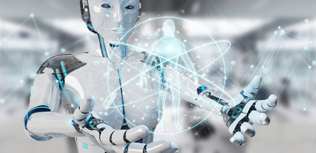 White woman robot on blurred background scanning human body 3D rendering Stock Photo