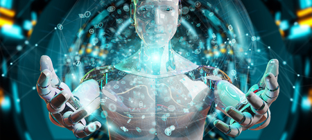 White male humanoid on blurred background using digital global network 3D rendering Archivio Fotografico