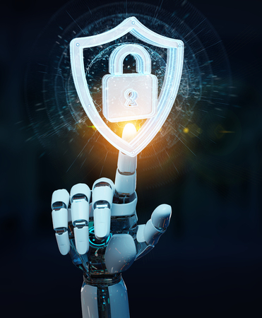 White humanoid hand on blurred background using web security 3D rendering