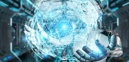 mujer robot blanco en el fondo borroso usando esfera digital holograma esfera 3d rendering