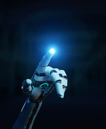 White cyborg pointing his finger isolated on dark background 3D rendering