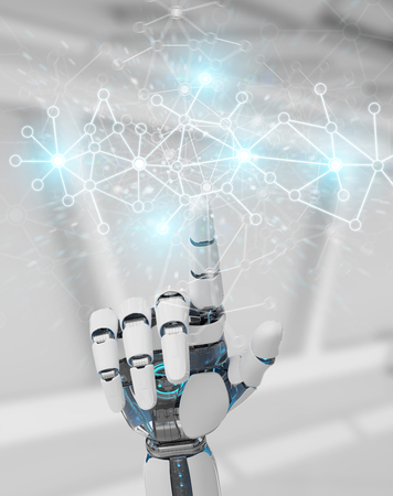 White cyborg hand on blurred background using digital network connection 3D rendering Archivio Fotografico