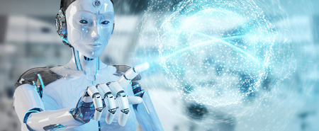 White woman humanoid on blurred background using digital global network 3D rendering