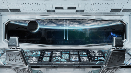 White clean spaceship interior with view on planet Earth 3D rendering Imagens - 107207220