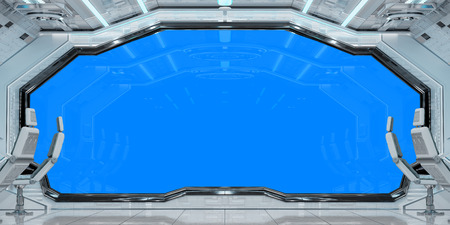 White clean spaceship interior with blue background 3D rendering