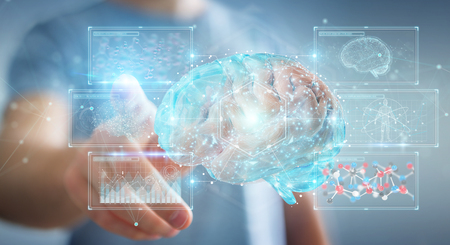 Businessman on blurred background using using digital 3D projection of a human brain 3D rendering Stock Photo