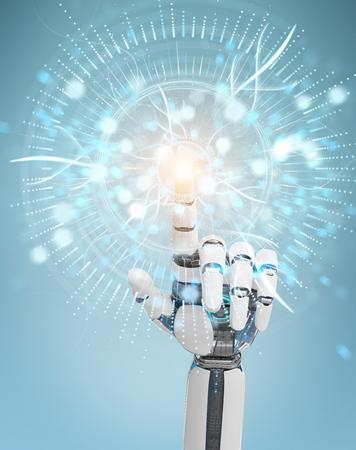 White cyborg hand on blurred background using digital eye surveillance hologram 3D rendering