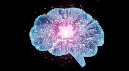 Artificial intelligence in a digital brain on black background 3D rendering Reklamní fotografie