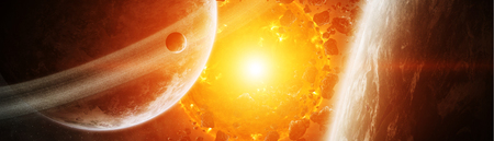 Sun exploding close to inhabited planets system 3D rendering Stok Fotoğraf - 107209738