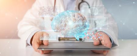Doctor on blurred background using digital brain scan hologram 3D rendering