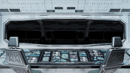 White clean spaceship interior with black background 3D rendering 免版税图像