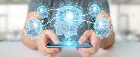 Businessman creating artificial intelligence with mobile phone 3D rendering Archivio Fotografico