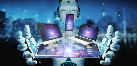Modern devices connected to each other in robot hand 3D rendering Archivio Fotografico