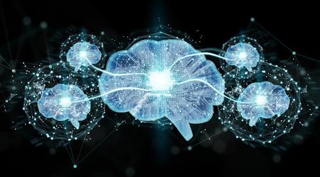 Artificial intelligence in a digital brain on black background 3D rendering Archivio Fotografico