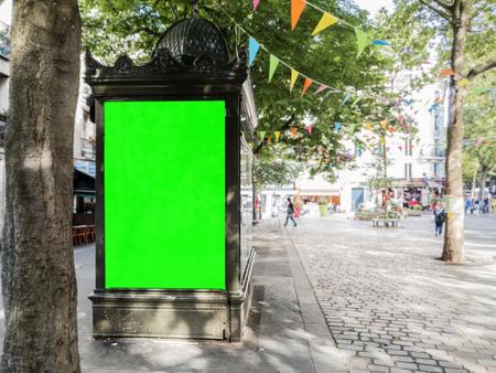 Mockup of outdoor newspaper kiosk advertisement billboard in Paris street