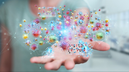 Businesswoman on blurred background analyzing bacteria microscopic close-up 3D rendering Standard-Bild