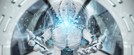 White robot woman on blurred background using digital triangle exploding sphere hologram 3D rendering Archivio Fotografico