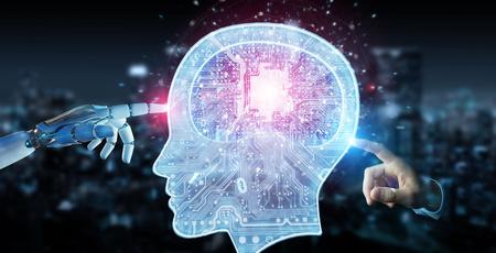 Cyborg op onscherpe achtergrond maken van kunstmatige intelligentie 3D-rendering