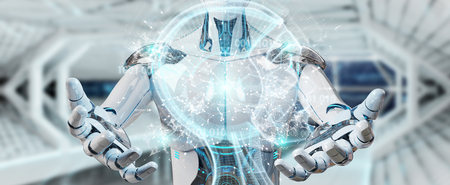 White male cyborg on blurred background creating artificial intelligence 3D rendering