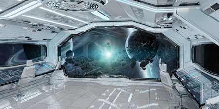 White clean spaceship interior with view on distant planets system 3D rendering elements of this image furnished by NASA Stock Photo