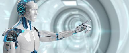 cyborg masculino blanco apuntando a su dedo aislado en el fondo de la nave espacial representación 3d