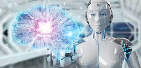 Robot on blurred background creating artificial intelligence in a digital brain 3D rendering Stock Photo
