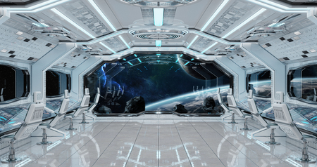 White clean spaceship interior with view on distant planets system 3D rendering elements