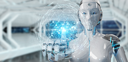 White robot woman on blurred background using digital triangle exploding sphere hologram 3D rendering 免版税图像