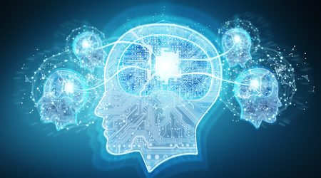 Artificial intelligence digital brain on blue background 3D rendering