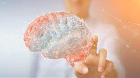 Zakenvrouw op onscherpe achtergrond met behulp van digitale 3D-projectie van een 3D-rendering van het menselijk brein