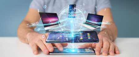 Modern devices connected to each other in businessman hand 3D rendering Stok Fotoğraf