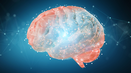 Digital 3D projection of a human brain on blue background 3D rendering Imagens