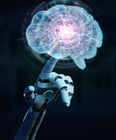 Robot on blurred background creating artificial intelligence in a digital brain 3D rendering Stok Fotoğraf