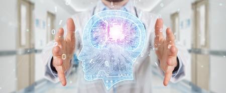 Doctor on blurred background creating artificial intelligence interface 3D rendering Reklamní fotografie