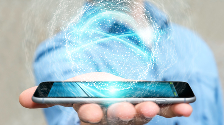 Businessman on blurred background using digital network connection sphere with mobile phone 3D rendering
