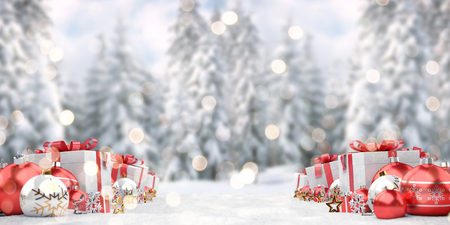 Red christmas gifts and baubles lined up on snowy background 3D rendering