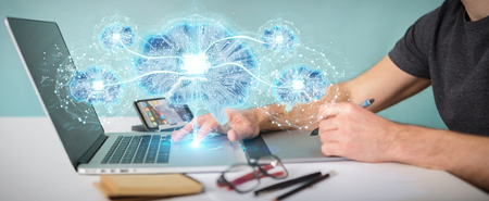 Graphic designer in office creating artificial intelligence in a digital brain 3D rendering Stock Photo
